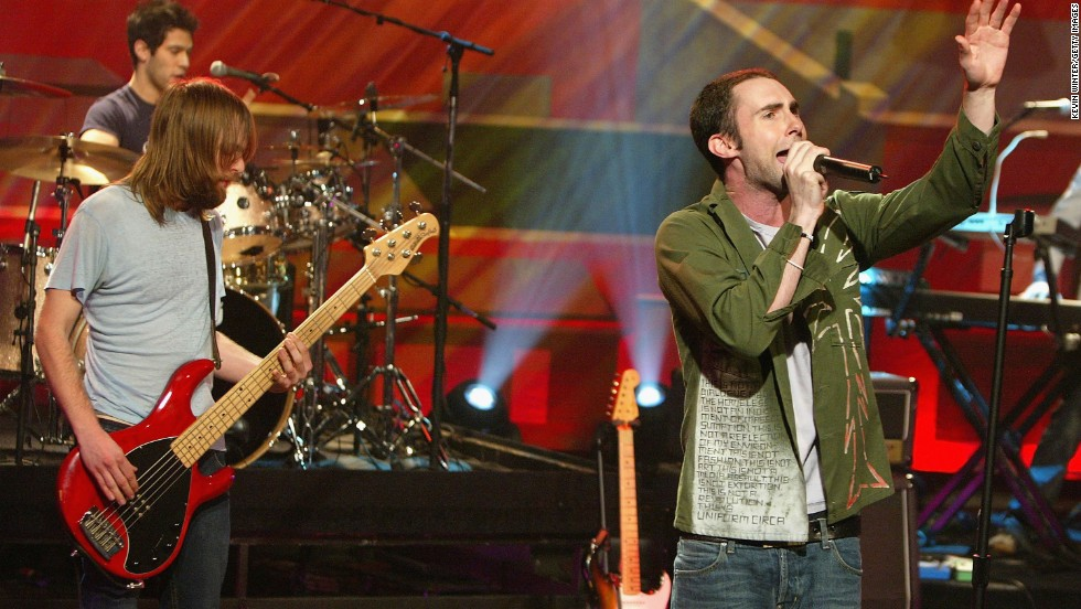 "Levine performs with Maroon 5 on ""The Tonight Show with Jay Leno"" in Burbank, California, in 2004."