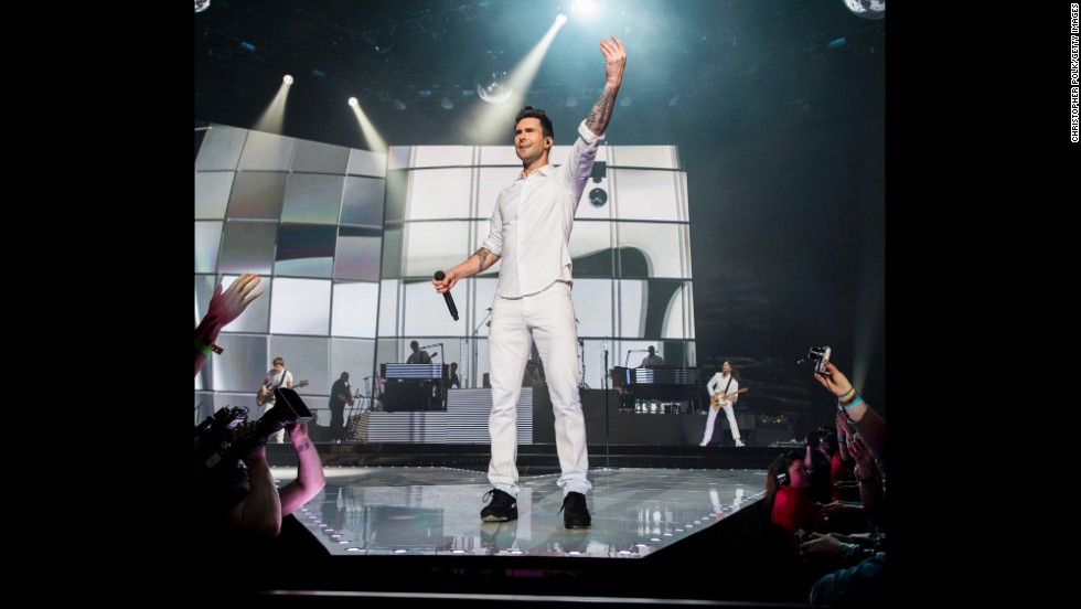 Levine and Maroon 5 perform at the Staples Center in Los Angeles on March 15.