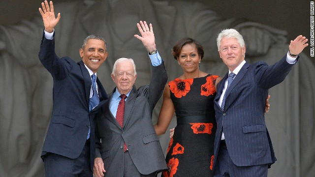 Obama, first lady Michelle Obama and ex-Presidents Clinton and Carter at the March on Washington's 50th anniversary.