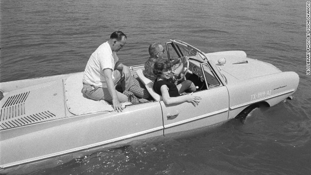 Serial Number (Please Retain for Reference): A263-8 Date: 04/10/1965 Credit: LBJ Library photo by Yoichi Okamoto Event: President Lyndon B. Johnson in his amphicar Description: President Lyndon B. Johnson in the amphicar with Eunice Kennedy Shriver and Paul Glynn Location: Haywood Ranch, near Kingsland, Texas Collection: White House Photo Office Rights: Public Domain: This image is in the public domain and may be used free of charge without permissions or fees.