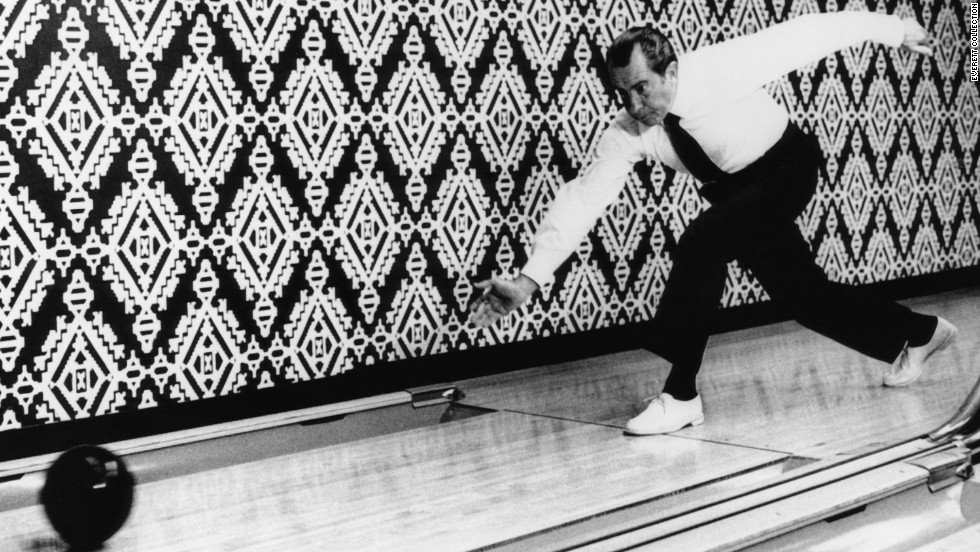 "Richard Nixon and first lady Pat Nixon both liked to bowl. The Nixons were responsible for moving <a href=""http://www.whitehousemuseum.org/floor0/bowling-alley.htm"" target=""_blank"">the White House bowling alley back into the Executive Mansion</a> after it had been relocated years earlier to a nearby building."