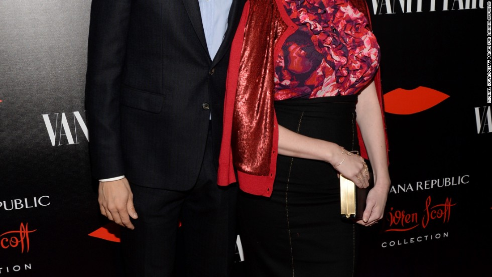 """Mad Men"" star Christina Hendricks and husband Geoffrey Arend attend the launch of Banana Republic's L'Wren Scott collection on November 19."