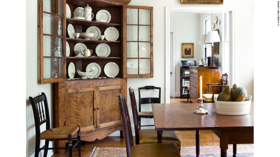 LaFave says the dining room is the best room in the house to fill with antiques.