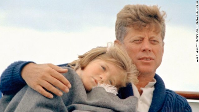 President John F. Kennedy with daughter Caroline aboard the presidential yacht in August 1963.