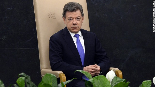 Juan Manuel Santos Calderon, President of Colombia waits to address delegates during the 68th session of the United Nations General Assembly at the United Nations in New York on September 24, 2013.