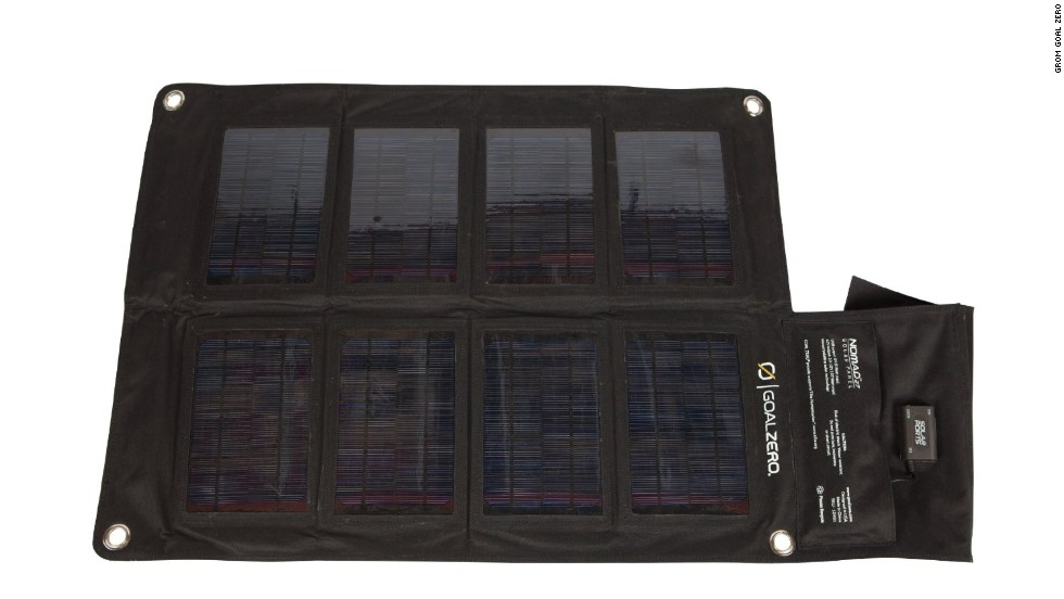 <strong>Goal Zero Nomad solar panels. </strong>Portable solar panels have become a mainstay of hikers and mountaineers, and Goal Zero offers a variety of sizes and wattages. The 20-watt model, for example, folds up small, weighs just 2�� pounds and is strong enough to power a laptop. (Batteries are required to store charges.) ($199)