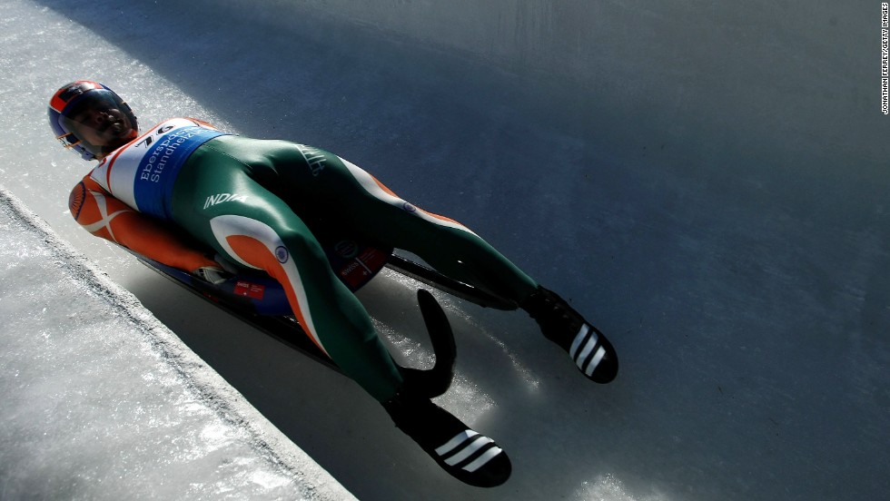 When competing, he can hit a top speed of 135 kph, with just a small sled and his protective clothing between him and the ice track.