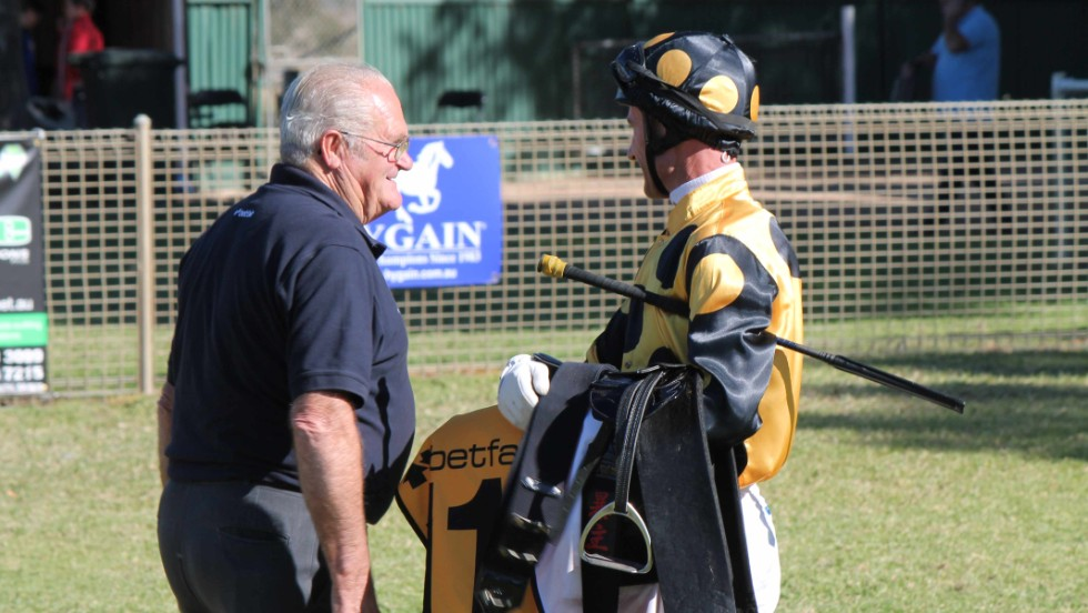 "But owner John Castleman (pictured left) is full of praise for 'Lusty,' who proved a calming influence on the many other horses in his stable, calling him ""everyone's mate."""