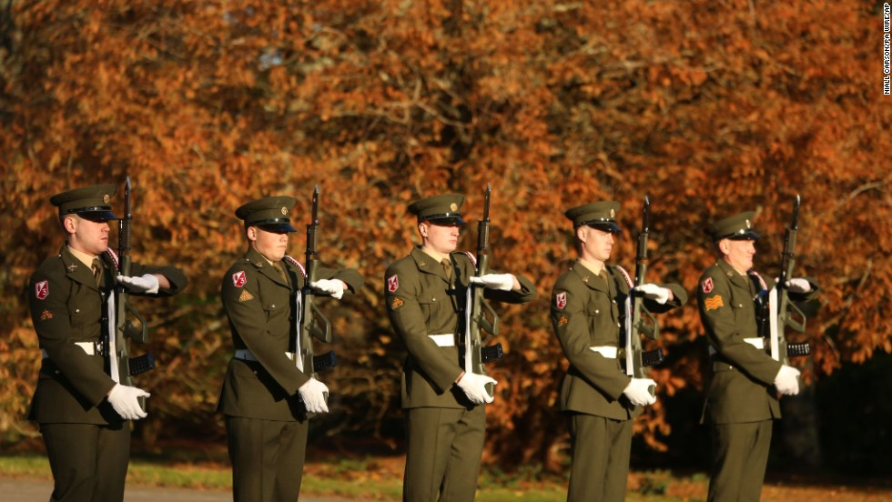 Army cadets attend a wreath-laying ceremony for Kennedy at the JFK Memorial Park and Arboretum in New Ross, Ireland, on November 22.