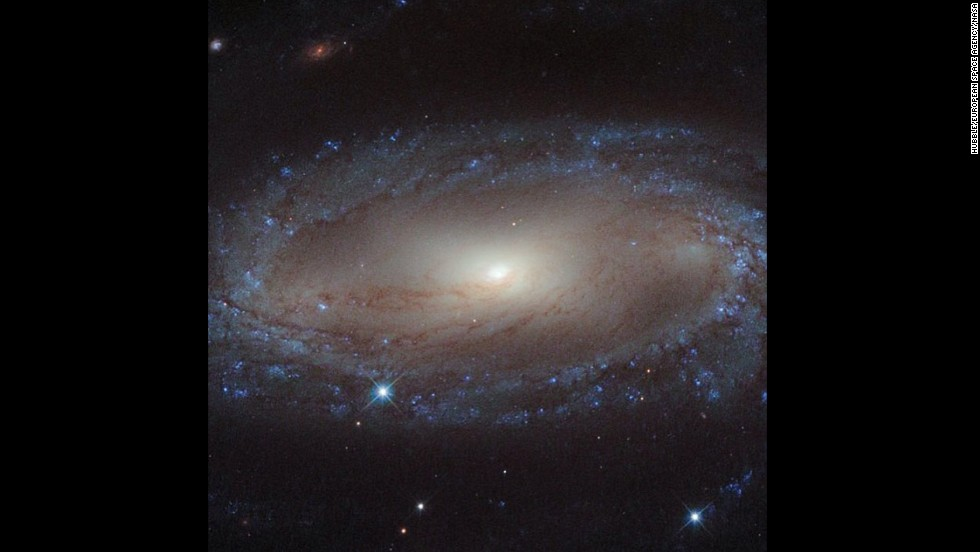 A view of spiral galaxy IC 2560 captured from the Hubble Space Telescope.