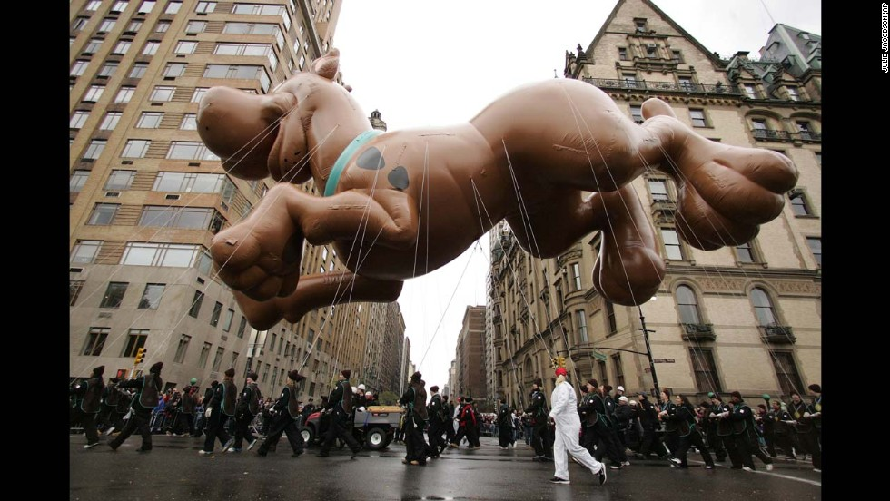 <strong>Scooby Doo (2005):</strong> The Scooby Doo balloon hangs over Central Park West as it is pulled through the parade in 2005.