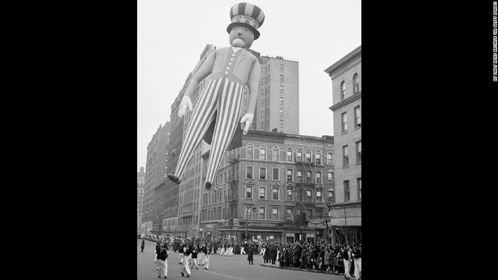 <strong>Uncle Sam (1940):</strong> Two years after this, Macy's brought the parade to a halt for the first time. World War II had started, and because of rubber and helium shortages, balloons were deflated and donated to the government. The parade came back in 1945 with a record-breaking 2 million spectators lining the streets.