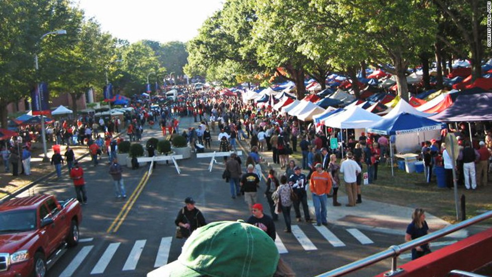 The tailgating scene on University Avenue on the Ole Miss campus.