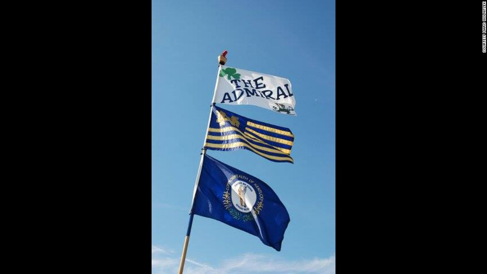 "Marc Wolnitzek flies his ""The Admiral"" flag in Notre Dame's stadium parking lot so friends can easily find him."