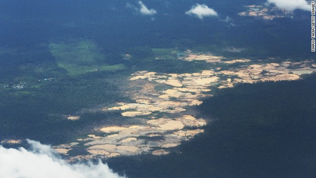 Informal gold mining in the Madre de Dios region of Peru causes extensive and accelerating deforestation.