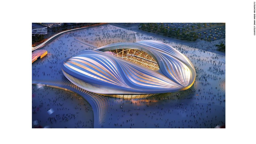 Zaha Hadid's design for the Qatar 2022 World Cup stadium attracted criticism for its resemblance to a certain part of the female anatomy. She says that it was inspired by the sail of a dhow, a traditional Arab fishing boat, but we leave it to you to decide.