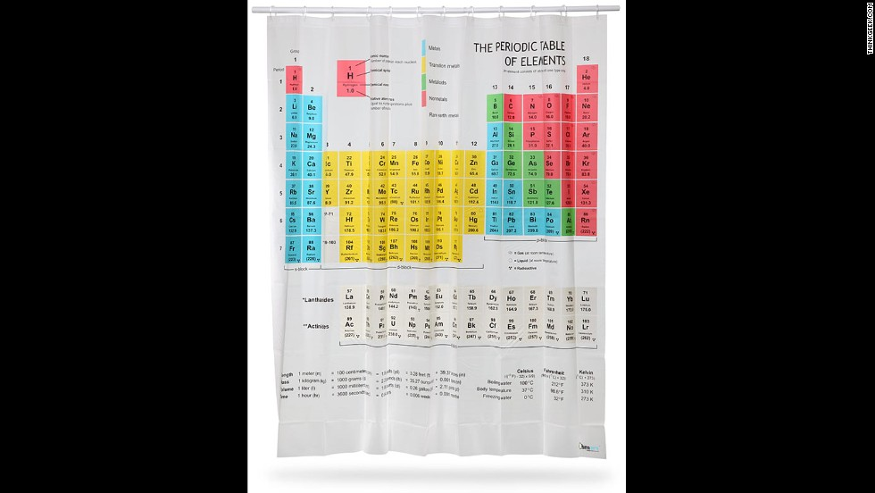 "<em>If you want to learn while you shampoo ...</em> the <strong>Periodic Table Shower Curtain</strong> is the place to start. As seen on ""The Big Bang Theory,"" this 71-inch-by-71-inch curtain, made of sturdy EVA vinyl, features all the elements from hydrogen to roentgenium (OK, so it lacks copernicium -- even IUPAC takes time for deliberation) and doesn't skimp on the lanthanides. Also with handy metric-English equivalents. (ThinkGeek.com, $29.99)"