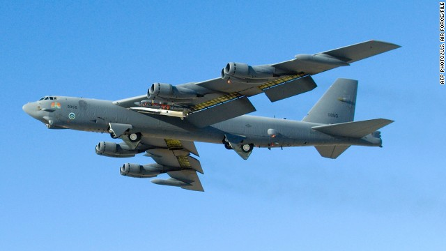 This May 26, 2010 US Air Force file photo shows a B-52 Stratofortress during testing of the X-51A WaveRider.