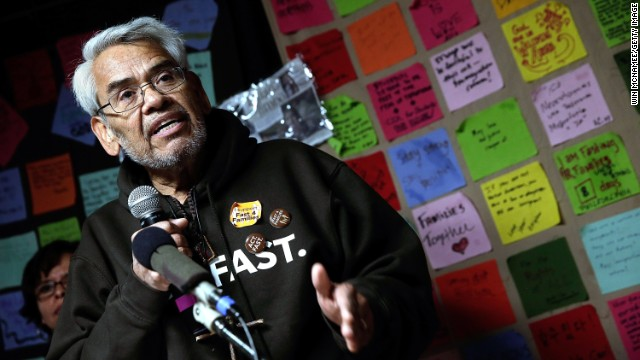 "Eliseo Medina, who is fasting, says he has ""a hunger for an end to a system that creates such misery."""