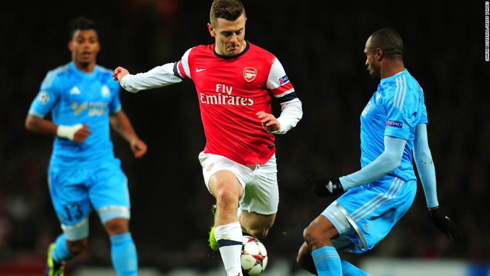 Arsenal midfielder Jack Wilshere scored two goals for Arsenal in their victory over French side Marseille at the Emirates Stadium in Tuesday's Group F match.