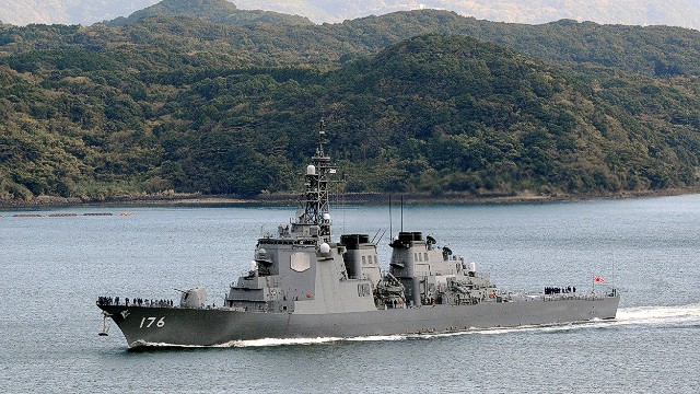 "This picture taken on December 6, 2012 shows Japanese Maritime Self-Defense Force's Aegis-equipped destroyer ""Chokai: at Sasebo in Nagasaki prefecture, Japan's southern island of Kyushu. Japan is considering boosting its fleet of Aegis-equipped destroyers from six to eight to counter threats from North Korean missile development and tensions with China over territory, a daily reported on November 6, 2013. AFP PHOTO / JIJI PRESS JAPAN OUTJIJI PRESS/AFP/Getty Images"