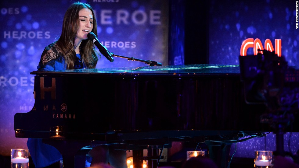 "Three-time Grammy nominee Sara Bareilles performs her hit single ""Brave."""