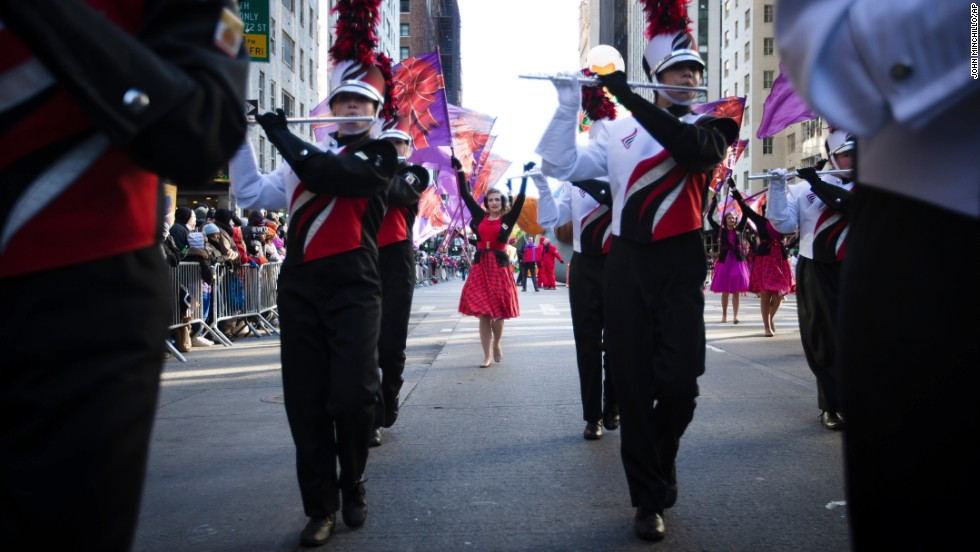 The Lakota West High School marching band performs on Sixth Avenue in Manhattan.
