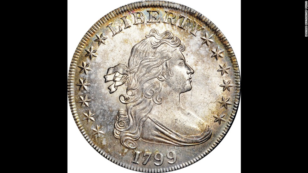"The front of a pristine 1799 ""Draped Bust"" silver dollar is shown. It sold for $822,500 at a two-day New York auction that ended Saturday, November 16."