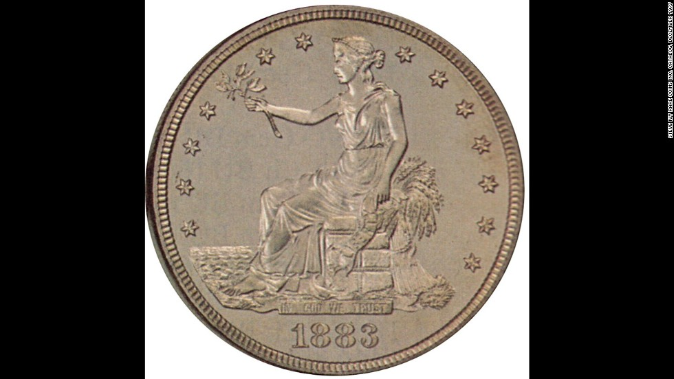 "The ""Trade"" dollar was intended for trade in the East to compete with the European dollar, but was devalued when the world price of silver dropped, according to the U.S. Mint."