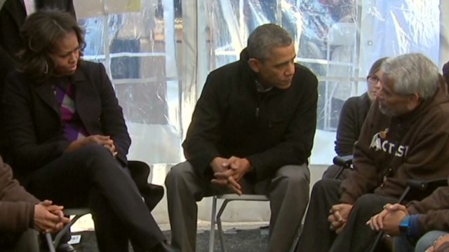 Obama visits hunger strike protesters