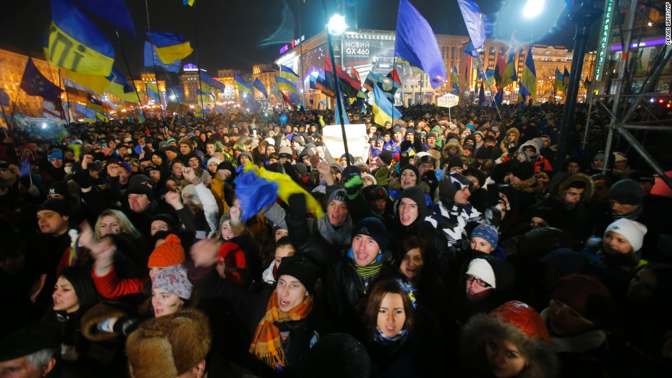 Demonstrators take to the streets in the center of Kiev on November 28.