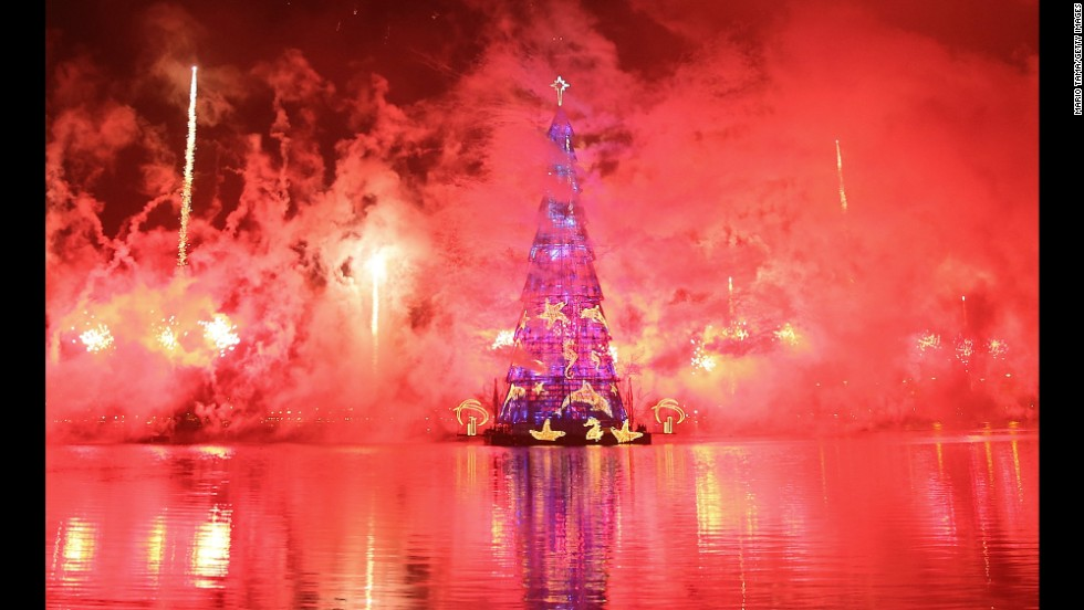 The 85-meter-tall artificial tree is the largest floating Christmas tree in the world according to the Guinness Book of World Records.