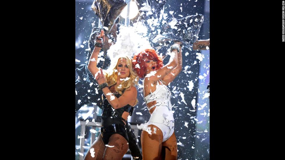 Spears and Rihanna perform at the 2011 Billboard Music Awards.