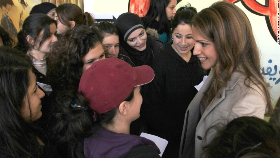 Jordan's Queen Rania Al Abdullah visits an all-girls secondary school. The PISA test is sat by students aged 15 and 16 who are near the end of the compulsory education.