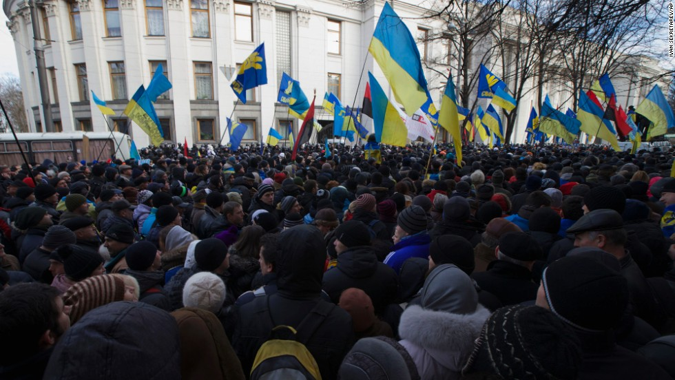 Protesters gather in front of the parliament on December 3.