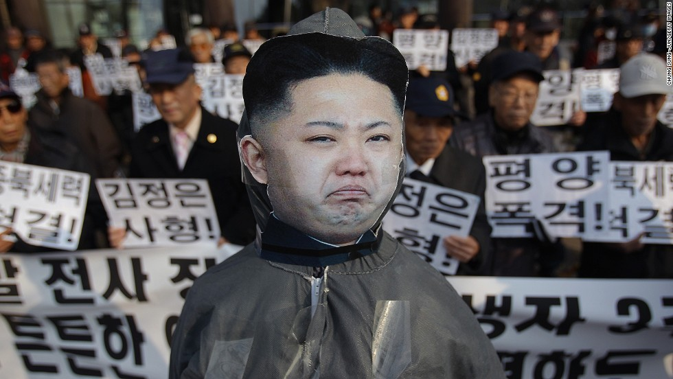 Afghanistan, North Korea and Somalia tied last with eight points each in the survey. In Seoul, South Korea, the effigy of North Korean leader Kim Jong Un is seen during an anti-North rally commemorating the four people killed in a 2010 attack by North Korea in Yeonpyeong on November 23, 2013.