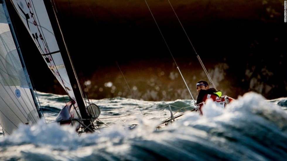 It's hard to see where exactly the sea ends and the boat begins in Guillaume Grange's image taken with a Canon 5D MKIII during the Mini Transat race in Douarnenez, France.