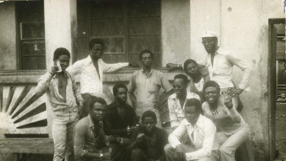 "Allen (middle left) and other musicians with some of the ""area boys"" at Kalakuta in 1976,"