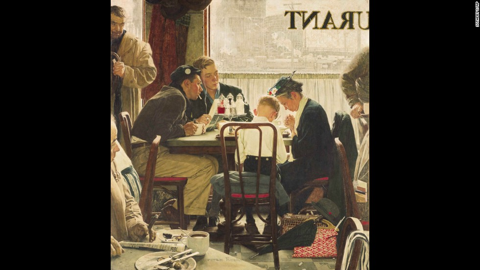 "Norman Rockwell's painting ""Saying Grace"" sold for $46 million in 2013 at Sotheby's American Art auction. It was a record for works by the late artist and for a single American painting. The illustration originally appeared on the Thanksgiving issue cover of The Saturday Evening Post in 1951."