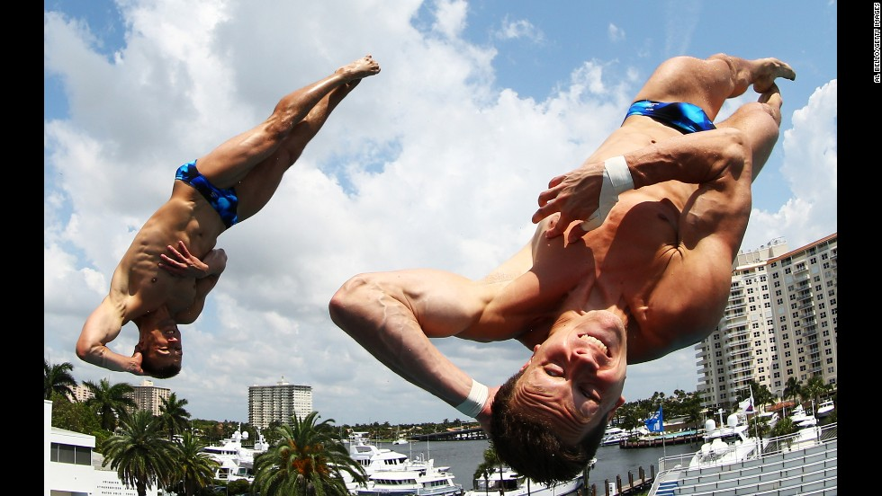 Patrick Hausding and Sascha Klein of Germany dive during the Men's 10-meter Platform Synchronized Finals on May 12 in Fort Lauderdale, Florida.
