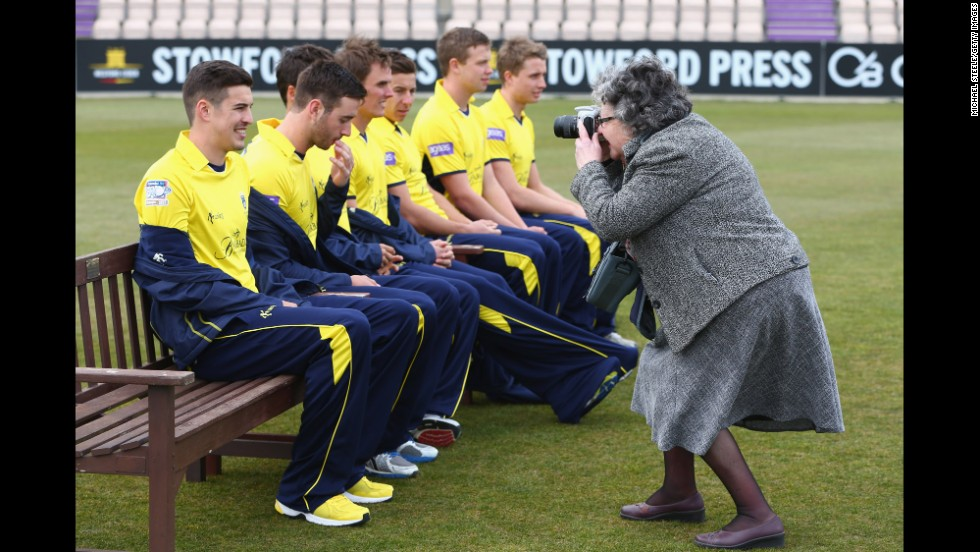 Chris Wood of Hampshire poses during the Hampshire CCC photocall on April 8 at the Ageas Bowl in Southampton, England.