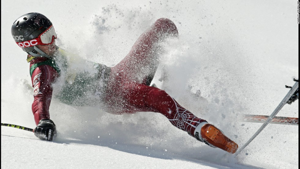 Grant Jampolsky of Squaw Valley, California, crashes during the men's super-G race at the U.S. Alpine Ski Championships in Squaw Valley on March 22.