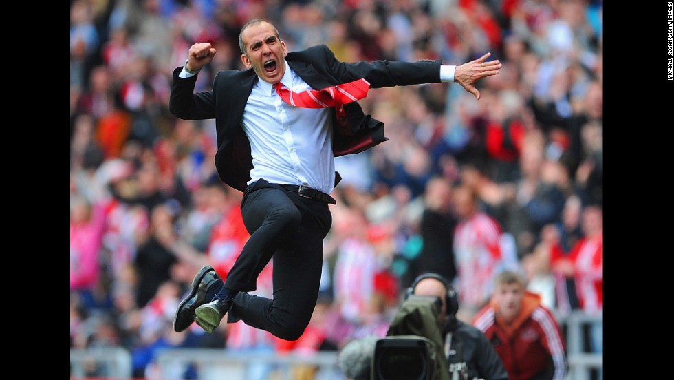 Sunderland manager Paolo Di Canio celebrates after his team defeats Everton in a Barclays Premier League match on April 20 at the Stadium of Light in Sunderland, England. Sunderland won only three of 13 games under Di Canio's leadership, and he was fired on September 22.