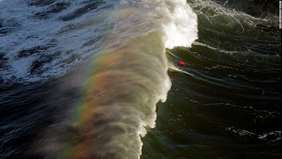 Peter Mel competes during the first heat of the Mavericks Invitational surf competition on January 20 in Half Moon Bay, California. Mel went on to win the event.