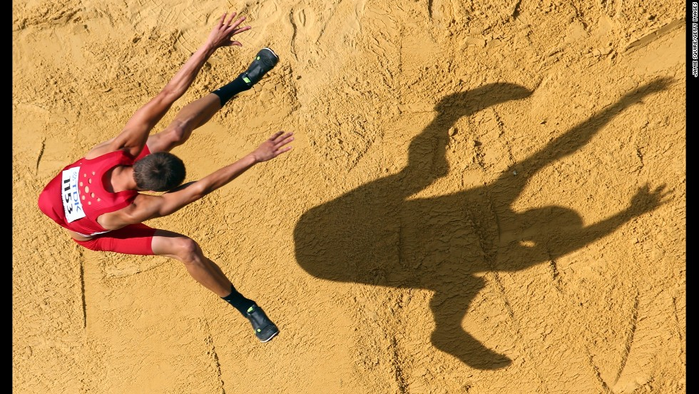 Gunnar Nixon of the United States competes in the men's decathlon long jump on day one of the IAAF World Athletics Championships on August 10 in Moscow.