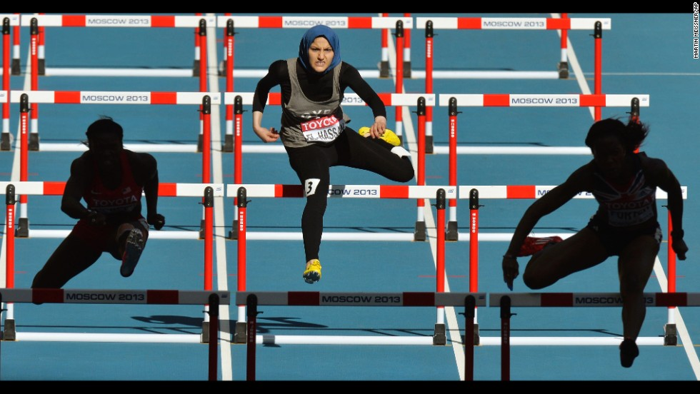 Egypt's Salma Emam Abou El-Hassan competes in a women's 100-meter hurdles heat at the World Athletics Championships on August 16 in Moscow.