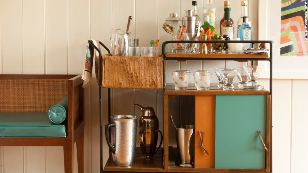 This bar cart, featured in the current issue of Southern Living, has mid-