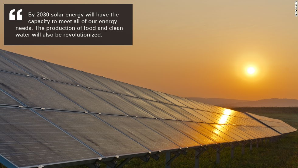 Kurzweil believes solar energy could satisfy 100% our power needs.