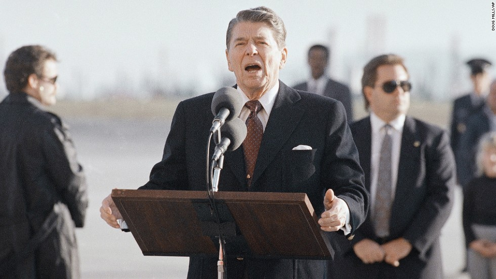 U.S. President Ronald Reagan pauses at Los Angeles International Airport to comment on the explosion. In 1992, the United Nations Security Council imposed sanctions on Libya over Libya's refusal to hand the suspects over for trial in a Scottish court. Those sanctions were suspended in 1999 when Libya turned the men in.