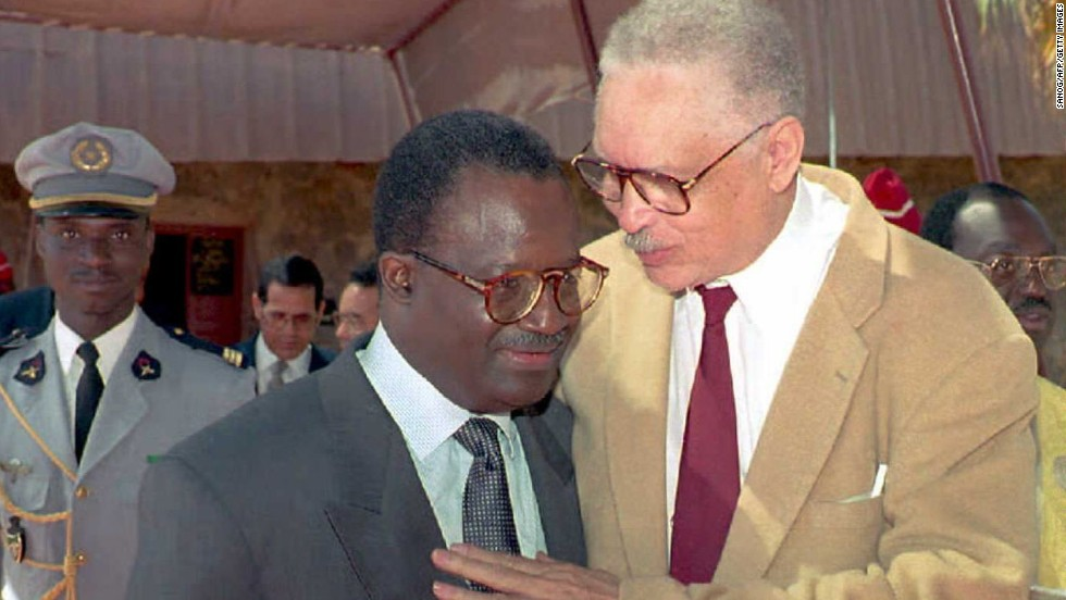 "Leon Sullivan (right) was an African-American Baptist minister and an anti-Apartheid activist, who focused on the creation of job training opportunities for African Americans. Former U.N. Secretary-General Kofi Annan said: ""He was [...] respected throughout the world for the bold and innovative role he played in the global campaign to dismantle the system of apartheid in South Africa."" Sullivan is pictured with former Senegalese PM Habib Thiam."